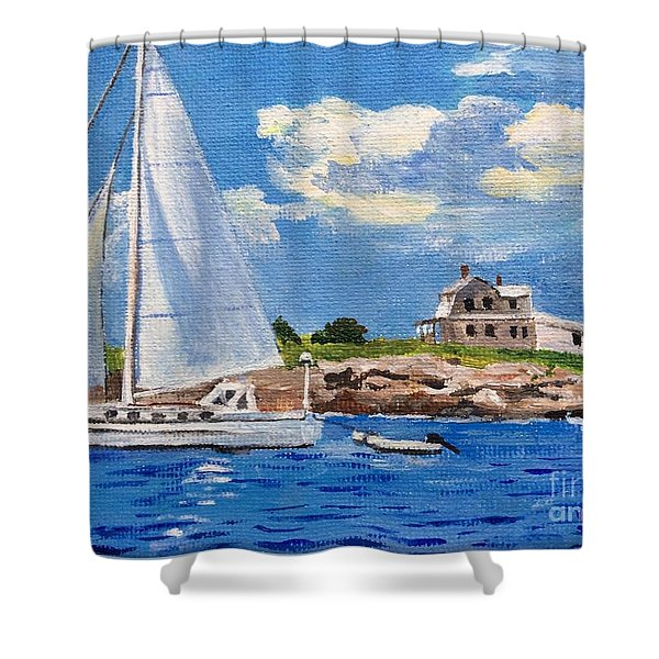 Sailing Past Wood Island Lighthouse Shower Curtain