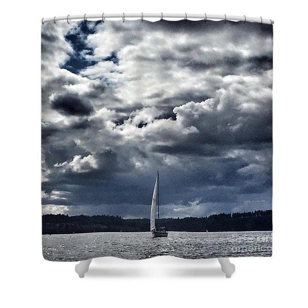 Sailing Puget Sound Shower Curtain