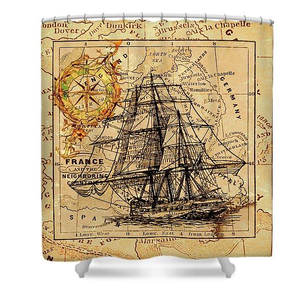 Sailing Ship Map Shower Curtain