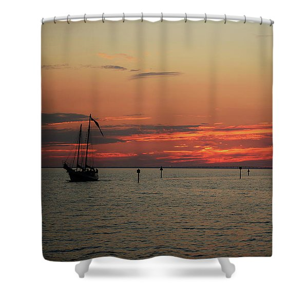 Sailing Sunset Shower Curtain