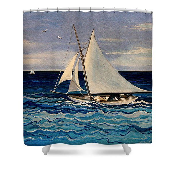 Sailing With The Waves Shower Curtain