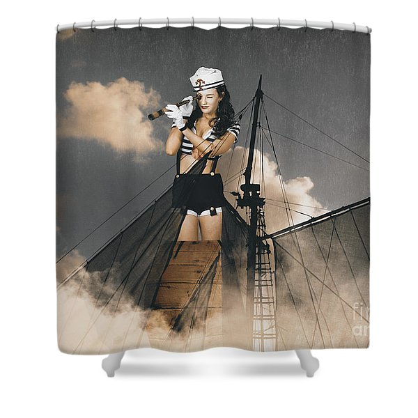 Sailor Pinup Girl On Lookout From Ships Crows-nest Shower Curtain