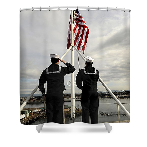 Sailors Raise The National Ensign Shower Curtain