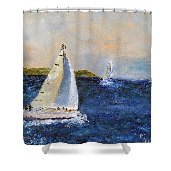 Sails On The Sound Shower Curtain
