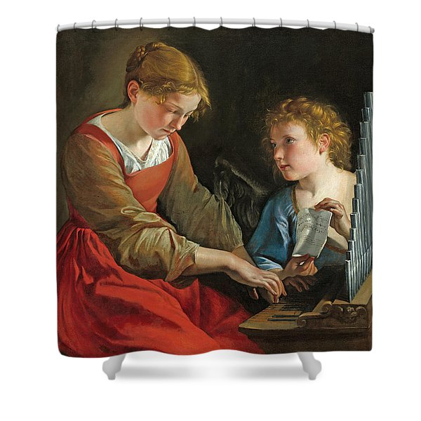 Saint Cecilia And An Angel Shower Curtain