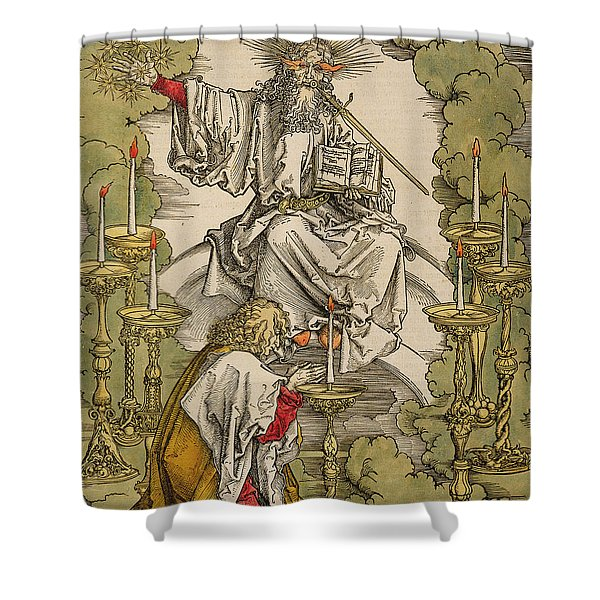 Saint John On The Island Of Patmos Receives Inspiration From God To Create The Apocalypse Shower Curtain
