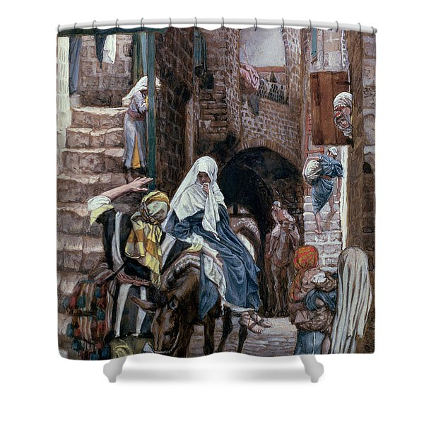 Saint Joseph Seeks Lodging In Bethlehem Shower Curtain