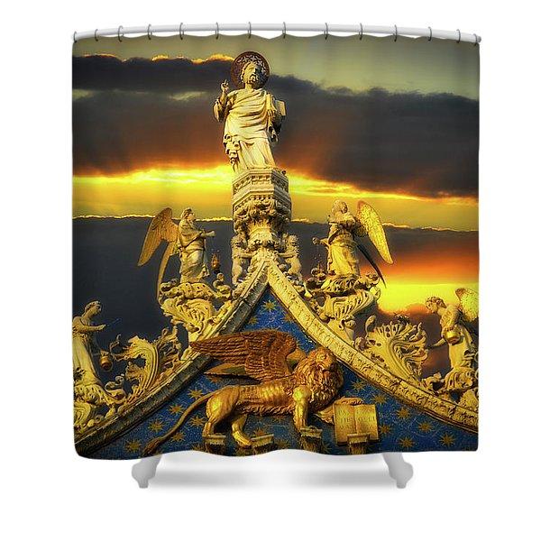 Saint Marks Basilica Facade  Shower Curtain