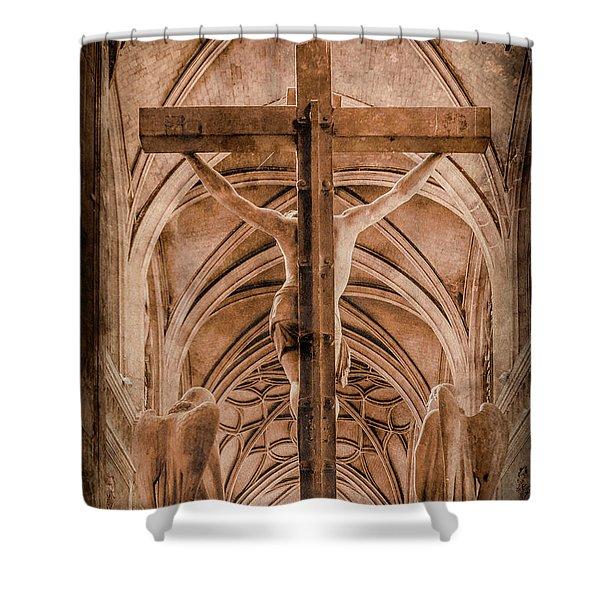 Paris, France - Saint Merri's Cross II Shower Curtain