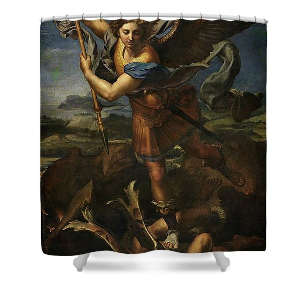 Saint Michael Defeats Satan Shower Curtain