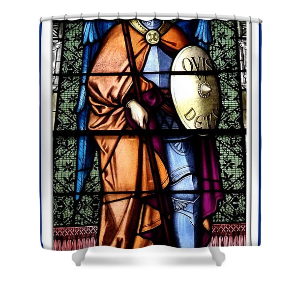 Saint Michael The Archangel Stained Glass Window Shower Curtain