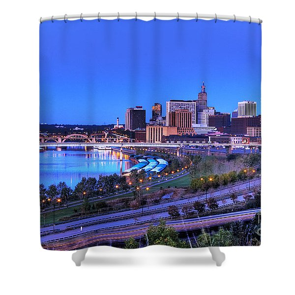 Saint Paul Minnesota Skyline Blue Morning Light Shower Curtain