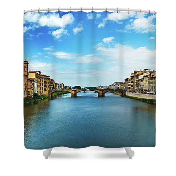 Panoramic View Of Saint Trinity Bridge From Ponte Vecchio In Florence, Italy Shower Curtain