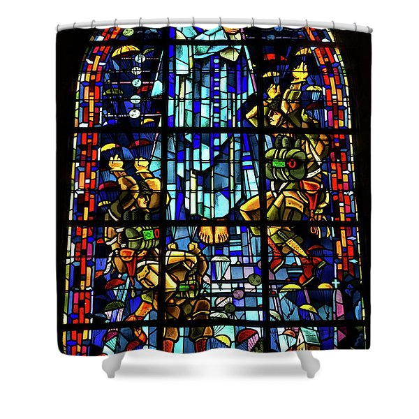 Sainte-mere-eglise Paratrooper Tribute Stained Glass Window Shower Curtain