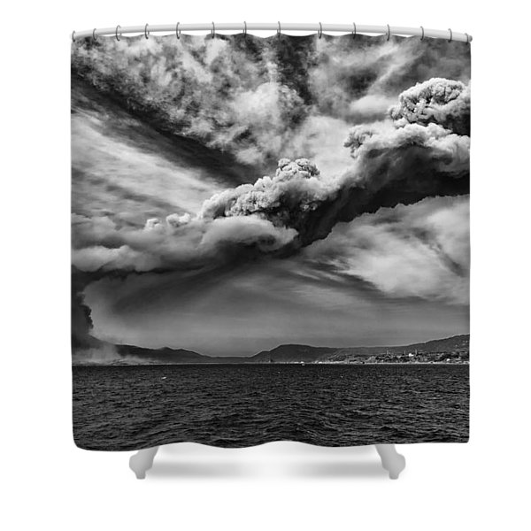 Sakurajima Volcano Shower Curtain