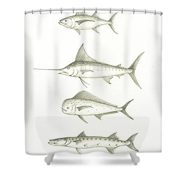 Saltwater Gamefishes Shower Curtain