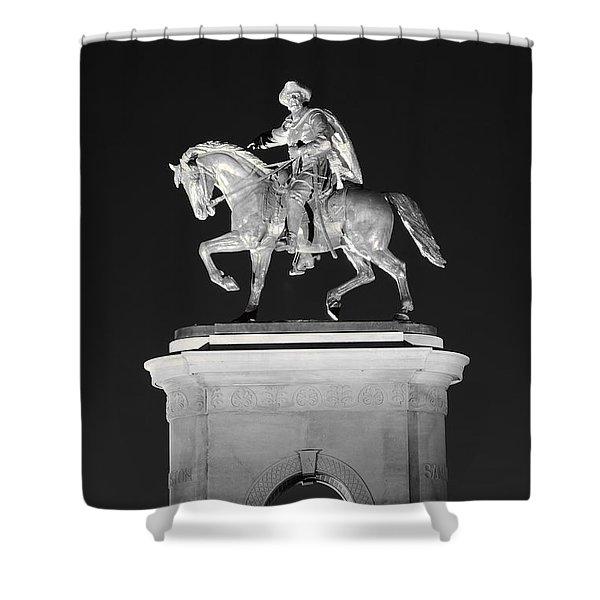 Sam Houston - Black And White Shower Curtain