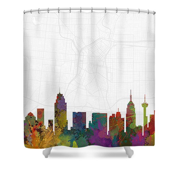 San Antonio Cityscape And Streetmap Skyline Shower Curtain