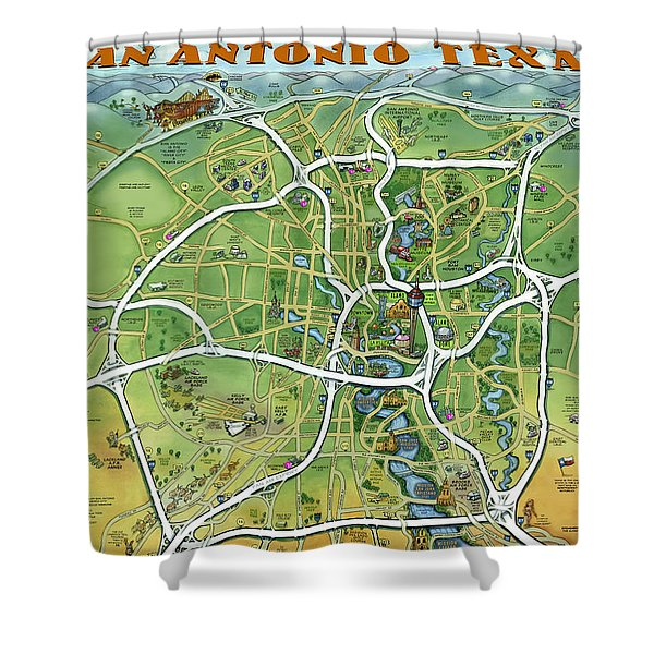 San Antonio Texas Cartoon Map Shower Curtain