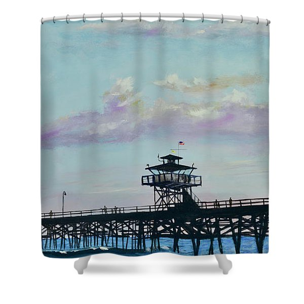 Shower Curtain featuring the painting San Clemente Evening by Mary Scott