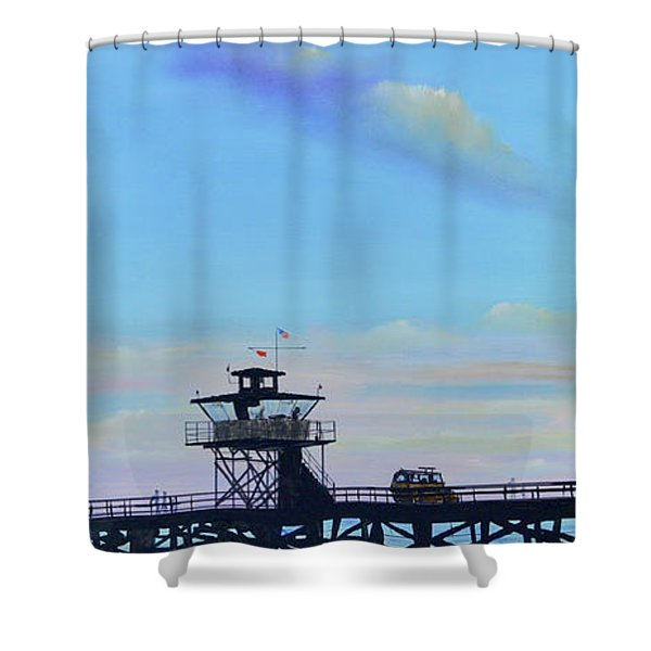 Shower Curtain featuring the painting San Clemente High Surf by Mary Scott