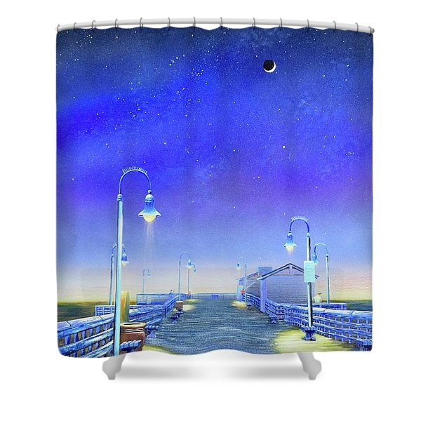 Shower Curtain featuring the painting San Clemente Pier by Mary Scott