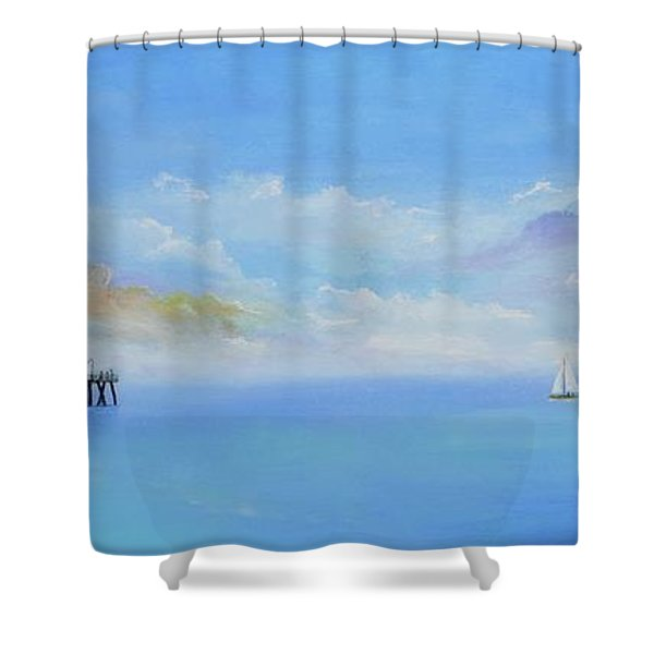 Shower Curtain featuring the painting San Clemente Sail by Mary Scott