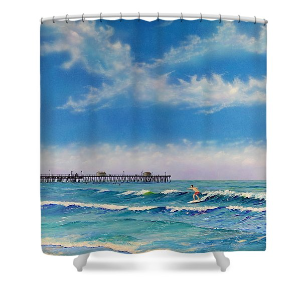 Shower Curtain featuring the painting San Clemente Surf by Mary Scott