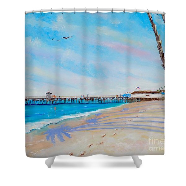 Shower Curtain featuring the painting San Clemente Walk by Mary Scott