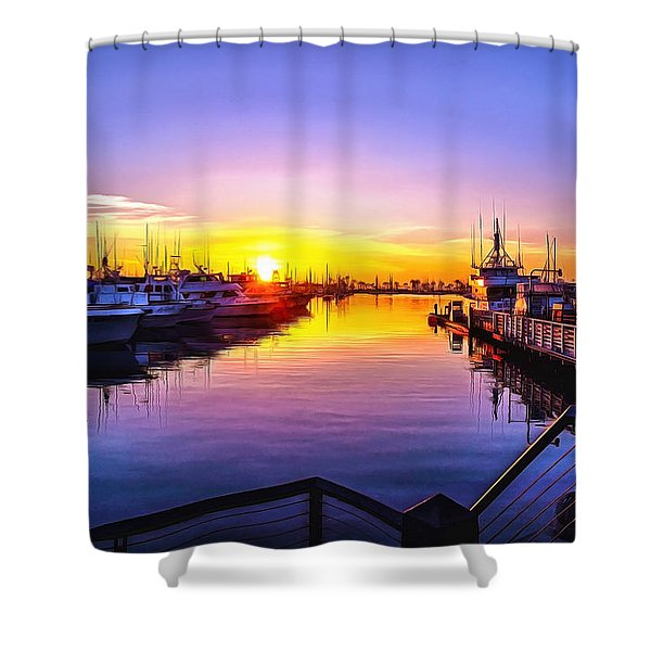 San Diego Harbor Sunrise Shower Curtain