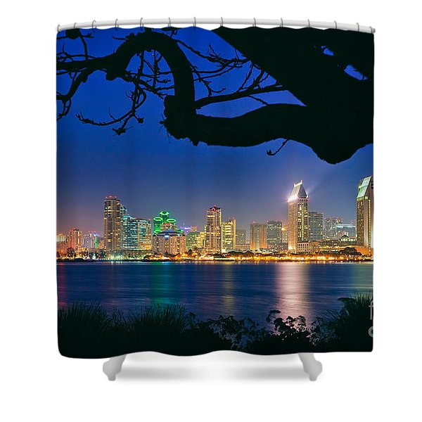 San Diego Skyline From Bay View Park In Coronado Shower Curtain