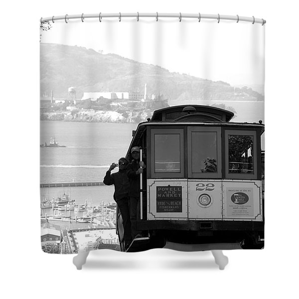 San Francisco Cable Car With Alcatraz Shower Curtain