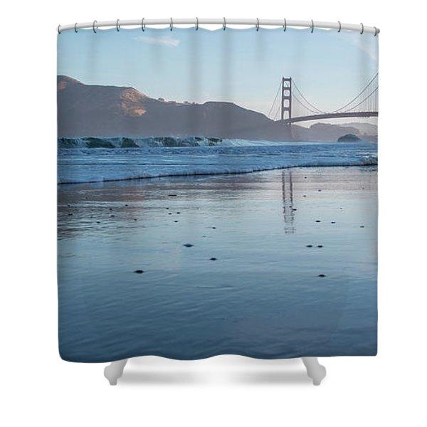 San Francisco Golden Gate Bridge Reflected On Baker's Beach Wet  Shower Curtain