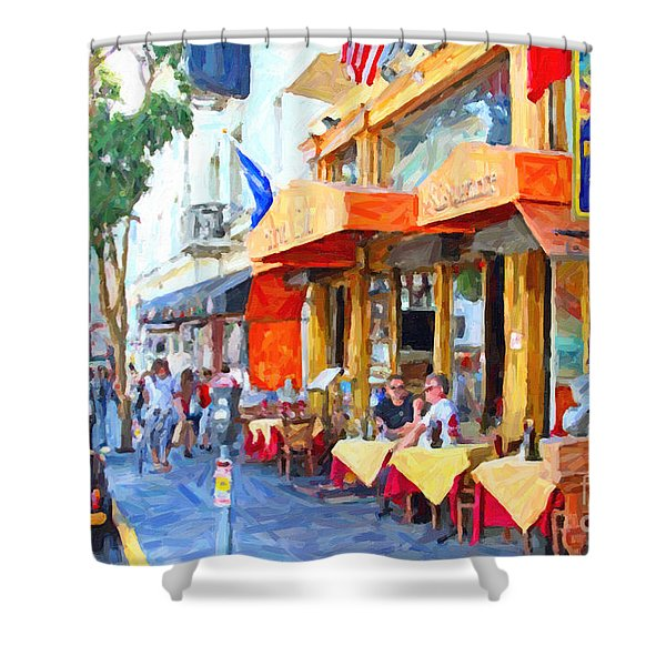 San Francisco North Beach Outdoor Dining Shower Curtain by Wingsdomain Art and Photography