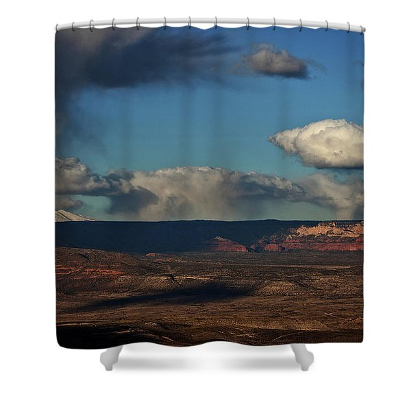 San Francisco Peaks With Snow And Clouds Shower Curtain
