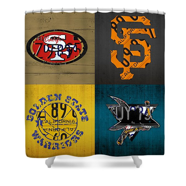 San Francisco Sports Fan Recycled Vintage California License Plate Art 49ers Giants Warriors Sharks Shower Curtain