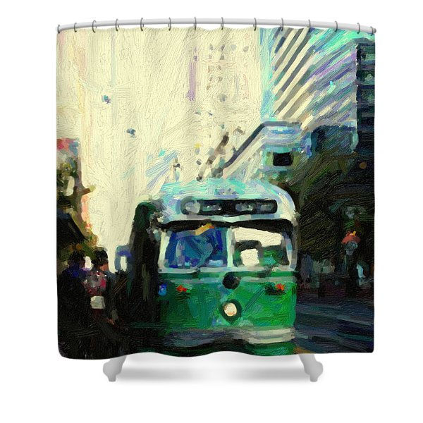 San Francisco Trolley F Line On Market Street Shower Curtain by Wingsdomain Art and Photography