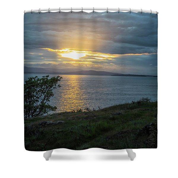 Shower Curtain featuring the photograph San Juan Island Sunset by Tom Singleton