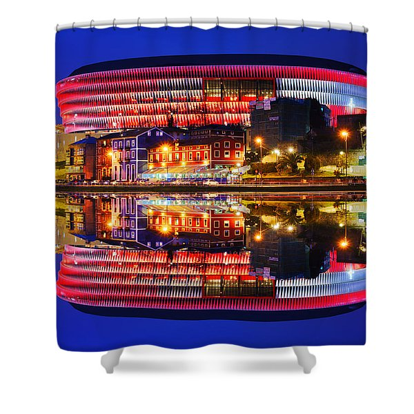 San Mames Stadium At Night With Water Reflections Shower Curtain