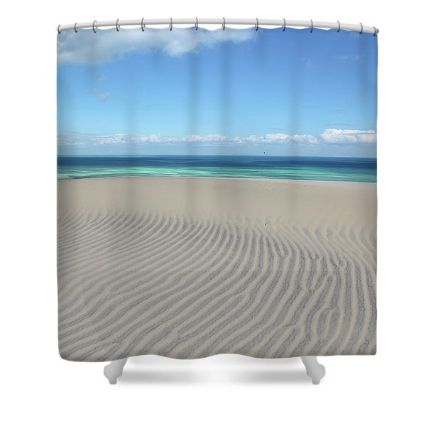 Sand Dune Ripples And The Ocean Beyond Shower Curtain