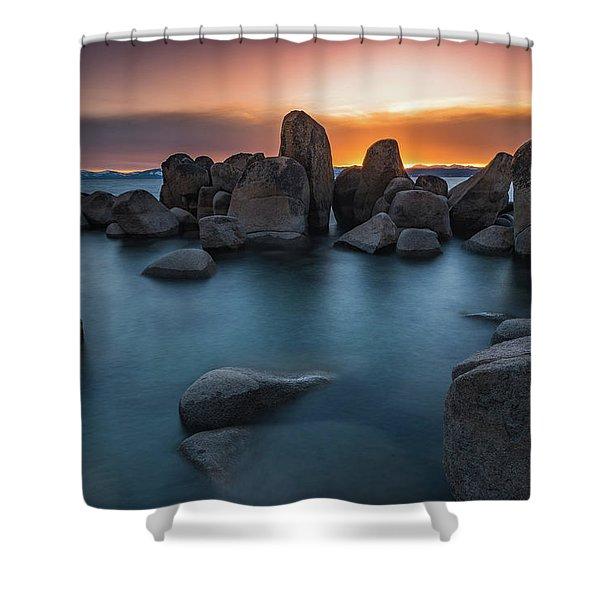 Sand Harbor Sunset Shower Curtain