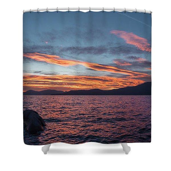 Sand Harbor Sunset Pano2 Shower Curtain