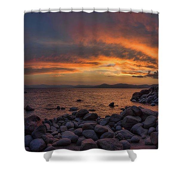 Sand Harbor Sunset Panorama Shower Curtain