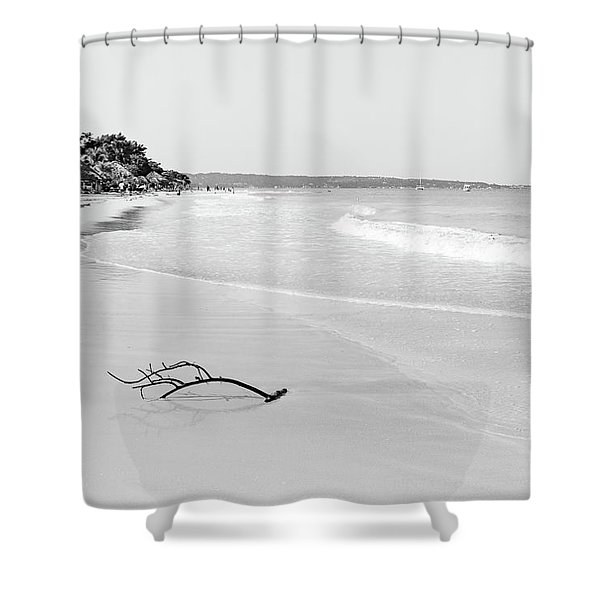 Sand Meets The Sea In Black And White Shower Curtain