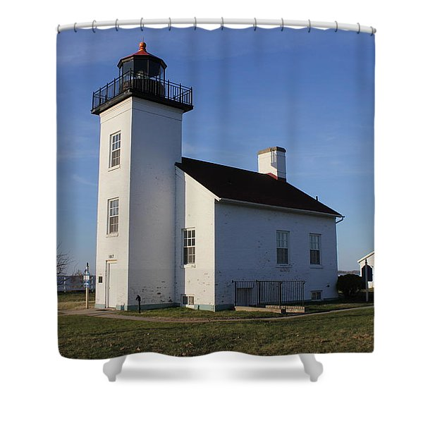 Sand Point Lighthouse In Escanaba Shower Curtain
