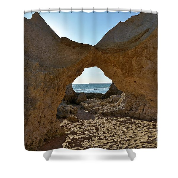 Sandstone Arch In Gale Beach. Algarve Shower Curtain