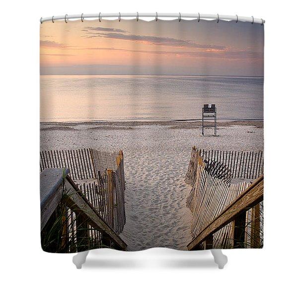 Sandy Neck Sunset Shower Curtain