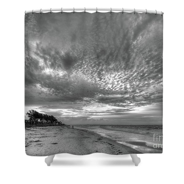 Sanibel Island Sunrise In Black And White Shower Curtain