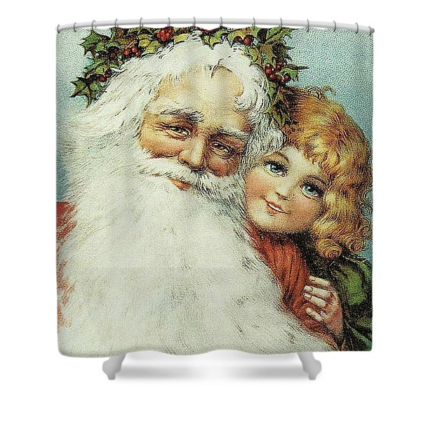 Santa And His Little Admirer Shower Curtain