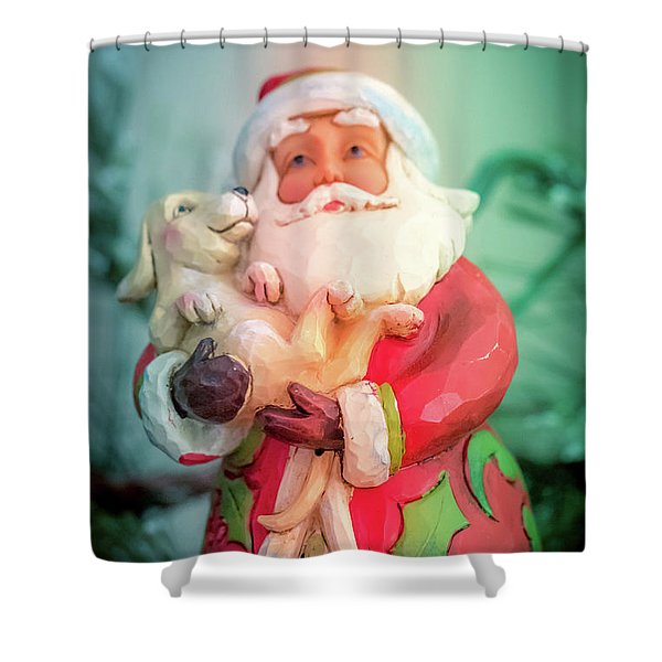 Santa And Lab Pup Shower Curtain
